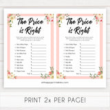 spring floral the price is right baby shower games, printable baby shower games, fun baby shower games, baby shower games, popular baby shower games