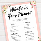 spring floral whats in your phone baby shower games, printable baby shower games, fun baby shower games, baby shower games, popular baby shower games