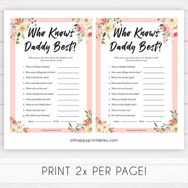 spring floral who knows daddy best baby shower games, printable baby shower games, fun baby shower games, baby shower games, popular baby shower games