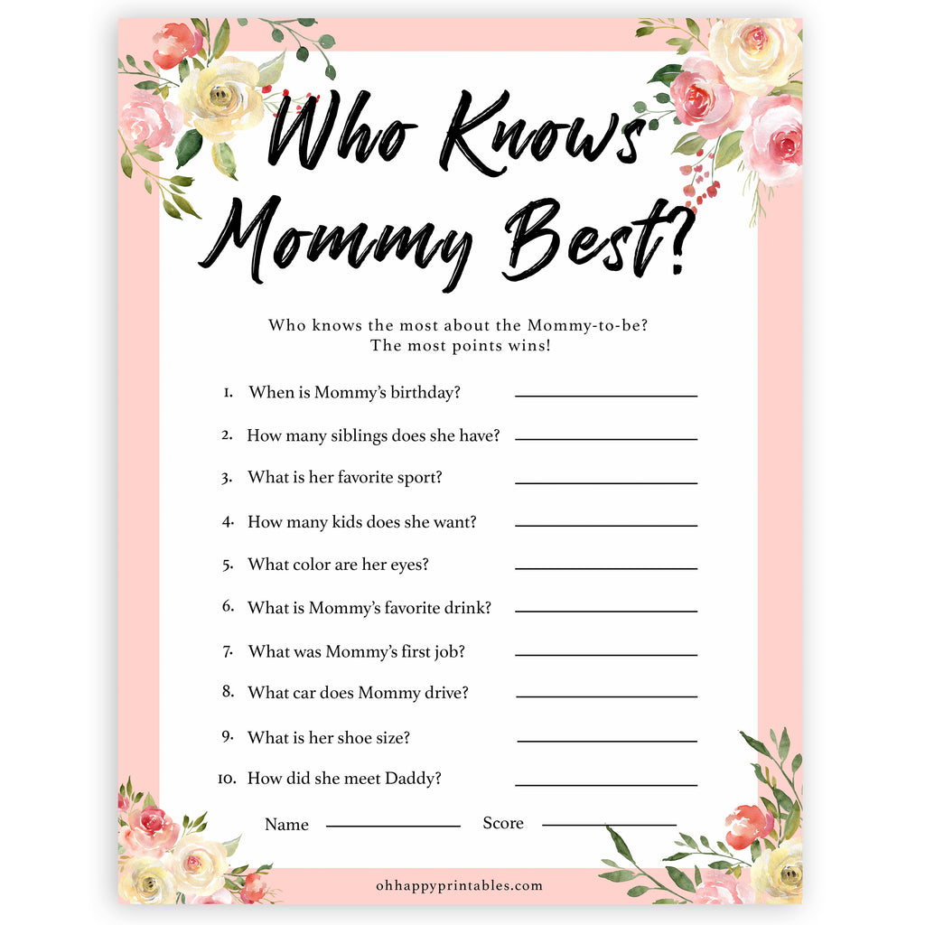photo regarding Who Knows Mommy Best Printable named Who Appreciates Mommy Most straightforward Sport - Spring Floral Printable Child