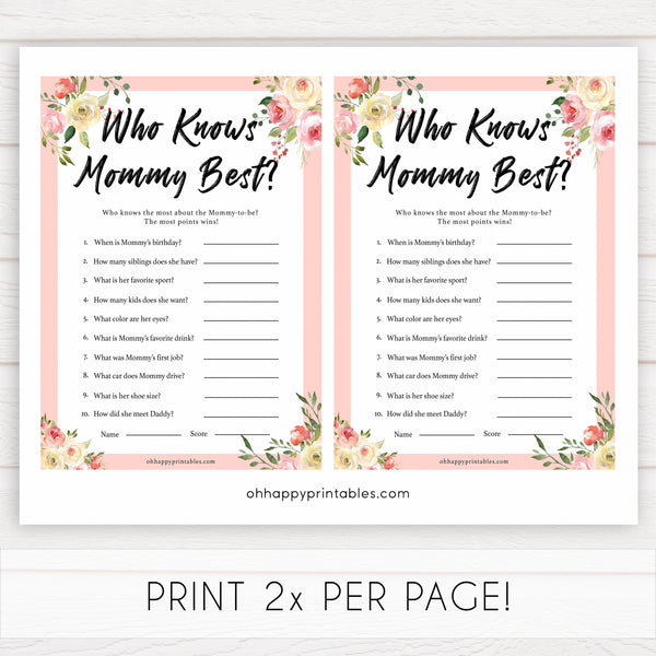 spring floral who knows mummy best baby shower games, printable baby shower games, fun baby shower games, baby shower games, popular baby shower games