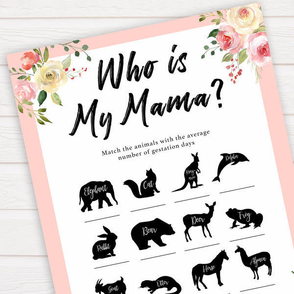 spring floral who is my mama baby shower games, printable baby shower games, fun baby shower games, baby shower games, popular baby shower games