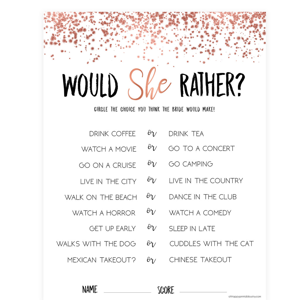 image regarding Would She Rather Bridal Shower Game Free Printable named Would She Really Bridal Video game - Rose Gold Foil