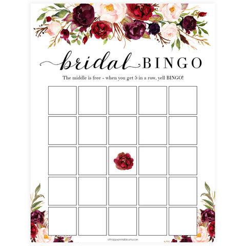 Bridal Bingo Game - White Marsala