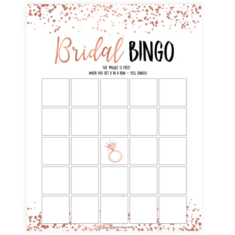 Bridal Bingo Game - Rose Gold Foil