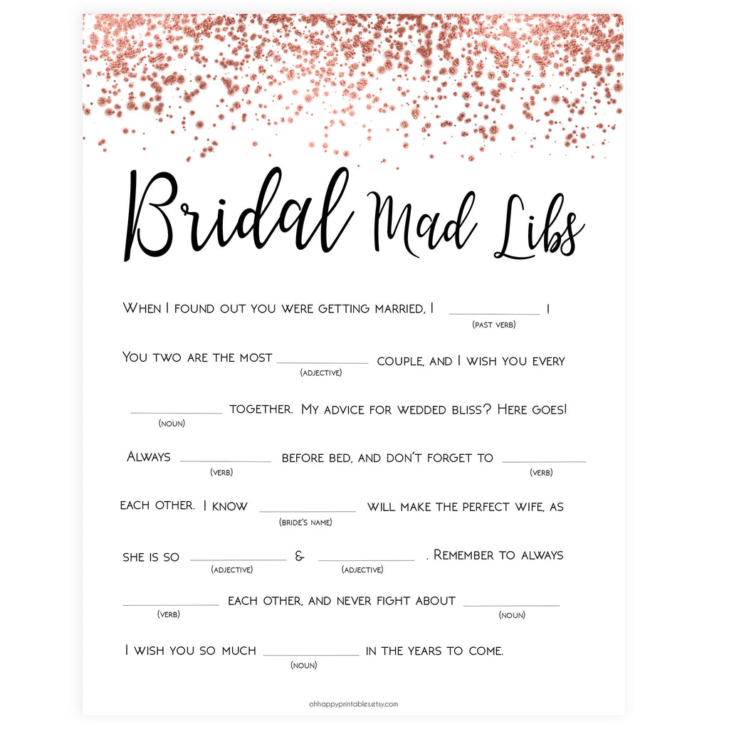 photograph relating to Mad Libs Printable Pdf referred to as Bridal Crazy Libs Recreation - Rose Gold Foil
