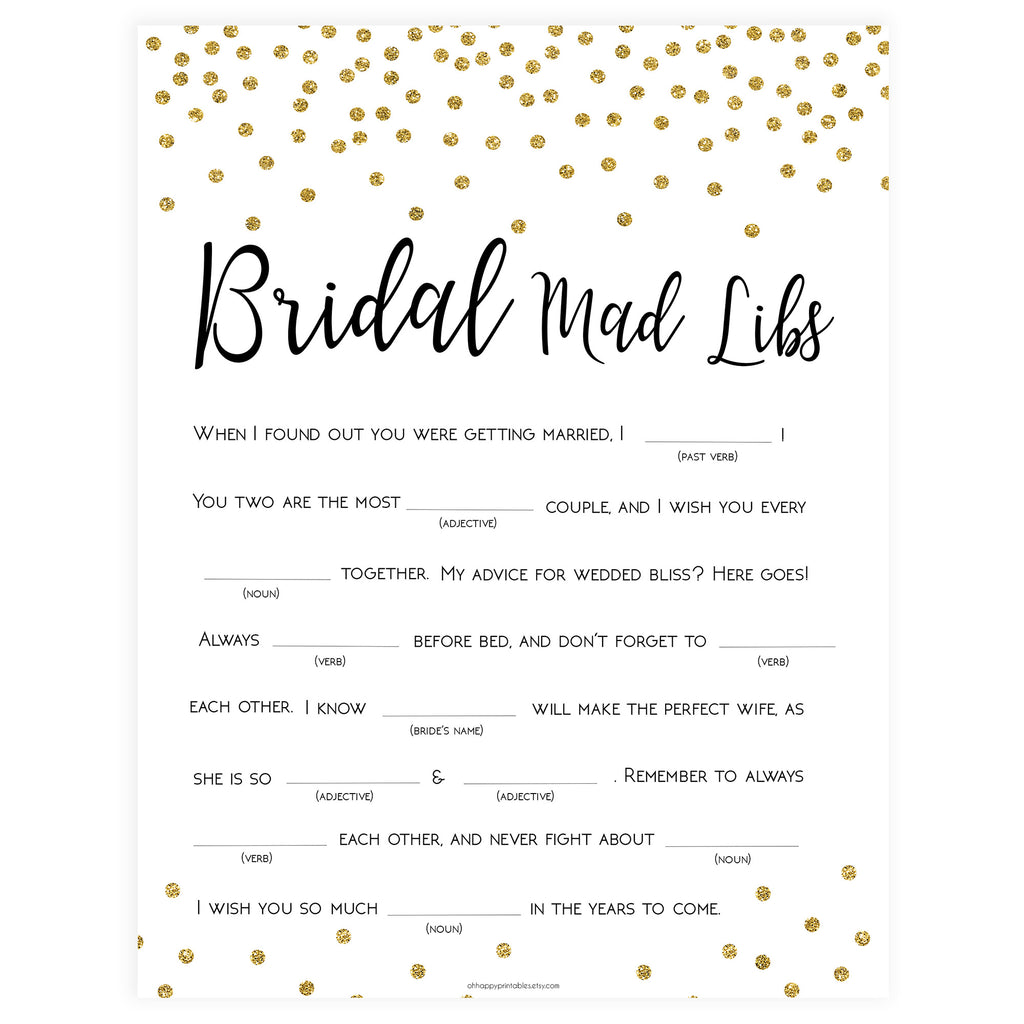 graphic about Printable Funny Mad Libs titled Bridal Outrageous Libs Recreation - Gold Foil