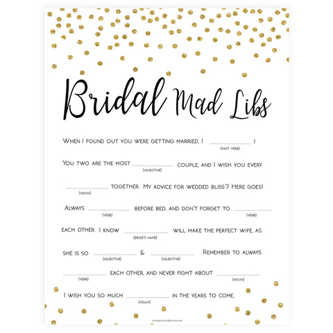 Bridal Mad Libs Game - Gold Foil