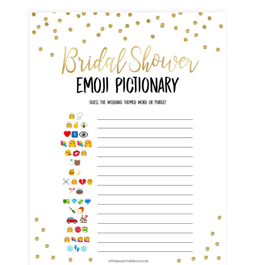 graphic about Emoji Bridal Shower Game Free Printable identified as Bridal Emoji Pictionary - Gold Foil