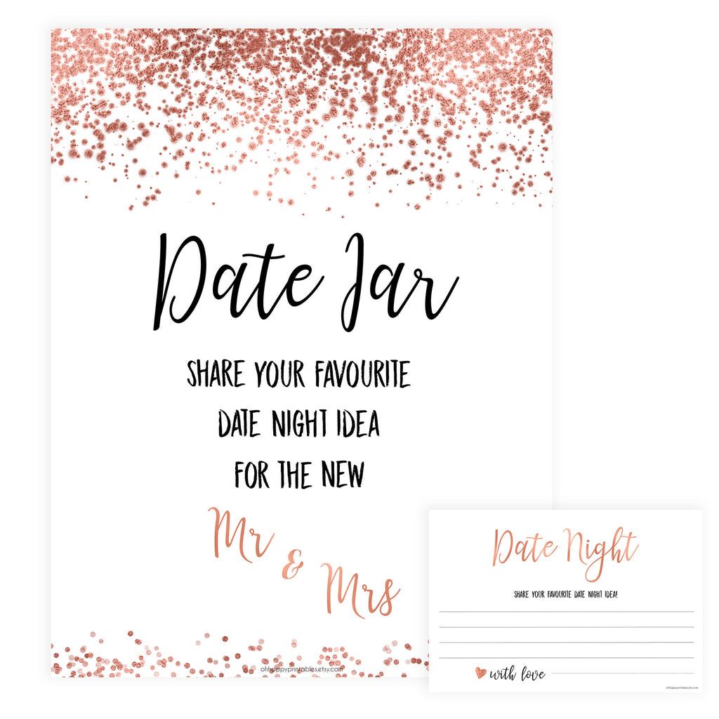 photograph about Date Night Jar Printable identify Rose Gold Day Jar Bridal Video game Retailer Printable Bridal