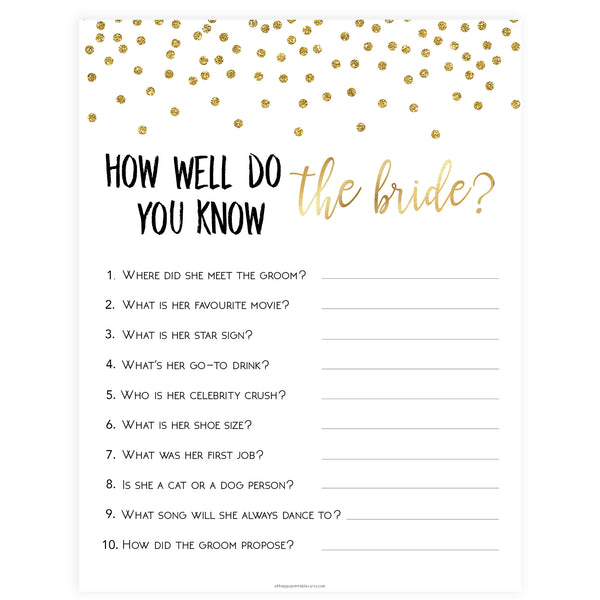 Do You Know the Bride Game - Gold Foil