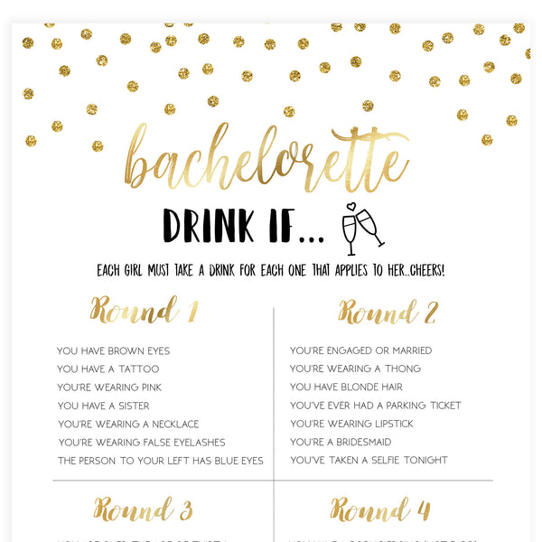 Bachelorette Drink If Game - Gold Foil