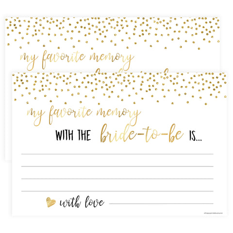 Favourite Memory with the Bride - Gold Foil