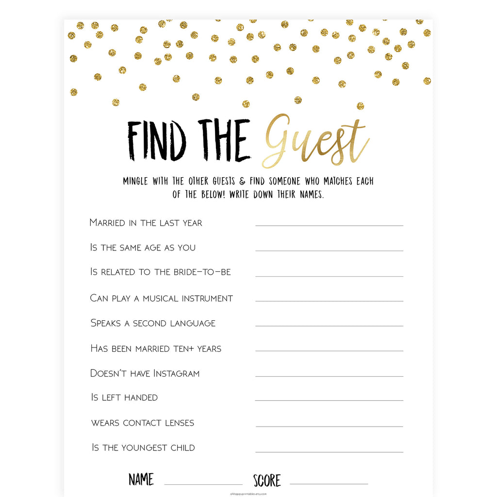 photo about Bridal Shower Printable Games named Discover The Visitor Bridal Video game - Gold Foil
