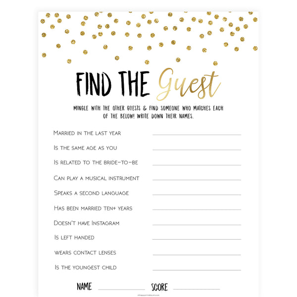 Find The Guest Bridal Game - Gold Foil