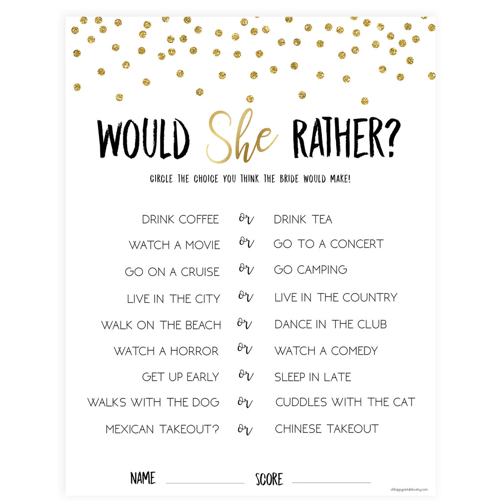 photo about Would She Rather Bridal Shower Game Free Printable known as Would She In its place Bridal Activity - Gold Foil
