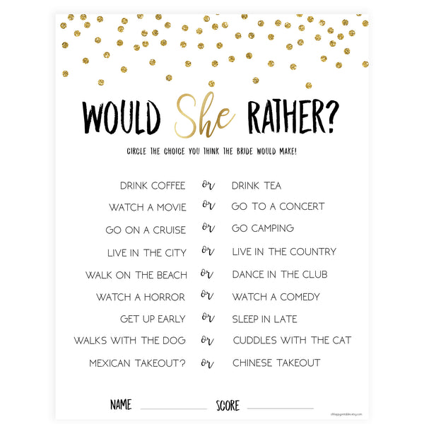 Would She Rather Bridal Game - Gold Foil