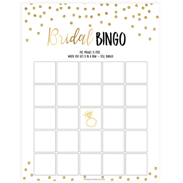 Bridal Bingo Game - Gold Foil