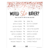 Would She Rather Bridal Game - Rose Gold Foil