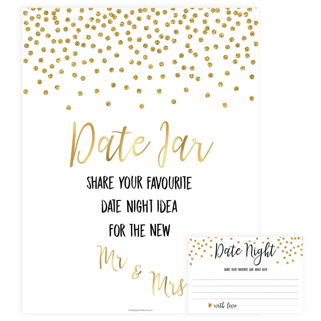 photo about Date Night Jar Printable referred to as Gold Day Night time Jar Video game Printable Bridal Shower Video games