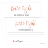 Date Night Jar Bridal Game - Rose Gold Foil