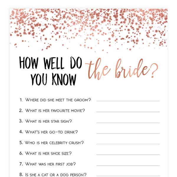 Do you Know the Bride Game - Rose Gold Foil