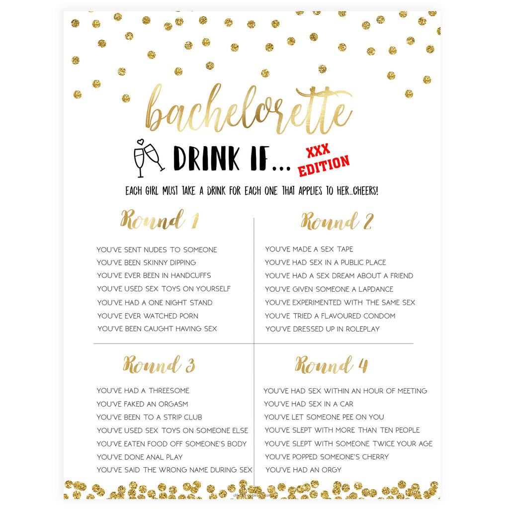 photo regarding Printable Bachelorette Games called X Ranked Bachelorette Consume If Activity - Gold Foil