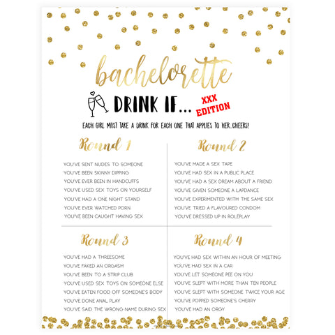 X Rated Bachelorette Drink If Game - Gold Foil
