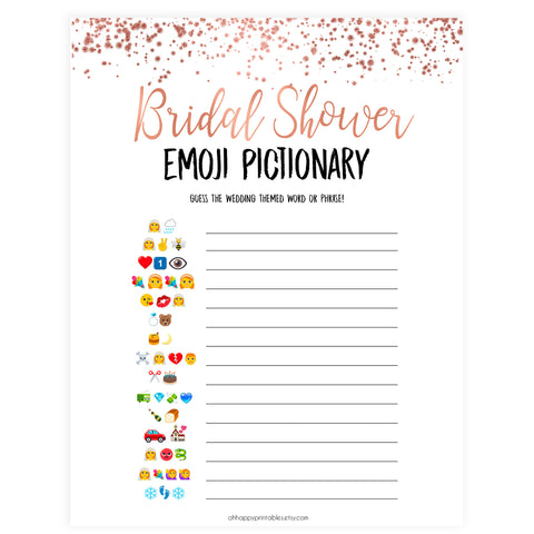 Bridal Emoji Pictionary -  Rose Gold Foil