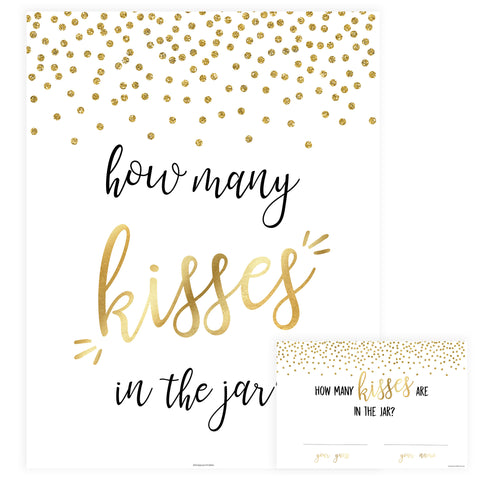 How Many Kisses in the Jar - Gold Foil