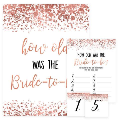 How Old was the Bride Game - Rose Gold Foil