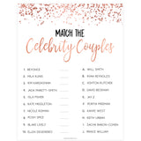 Match Celebrity Couples Game - Rose Gold Foil