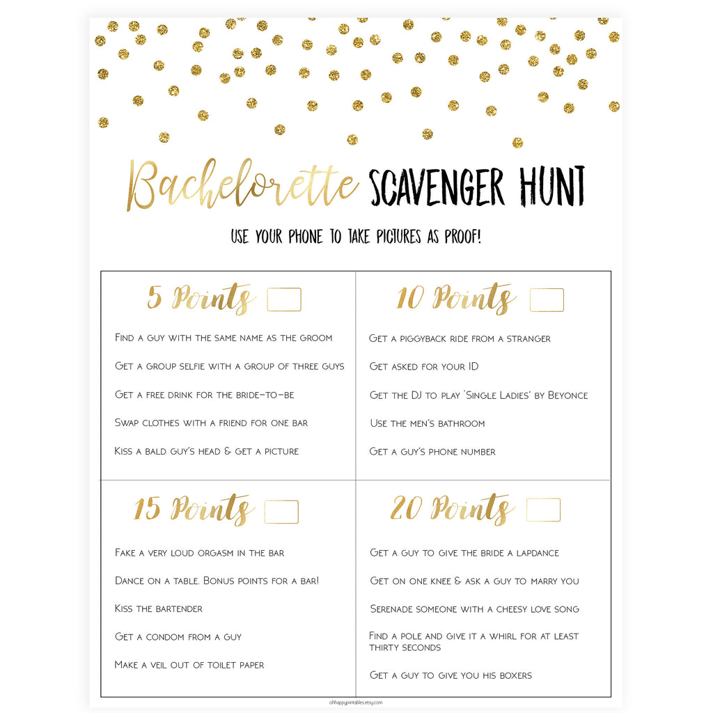 picture about Printable Bachelorette Scavenger Hunt identify Bachelorette Scavenger Hunt - Gold Foil
