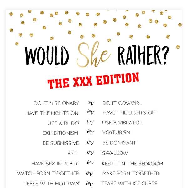 X Rated Would She Rather - Gold Foil