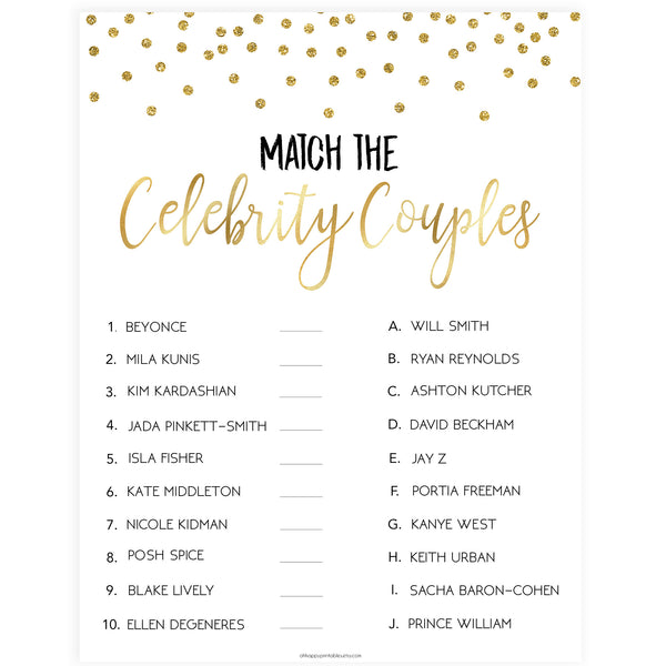 Match Celebrity Couples Game - Gold Foil