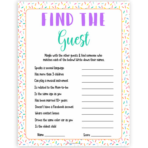 find the guest game, Printable baby shower games, baby sprinkle fun baby games, baby shower games, fun baby shower ideas, top baby shower ideas, sprinkle shower baby shower, friends baby shower ideas