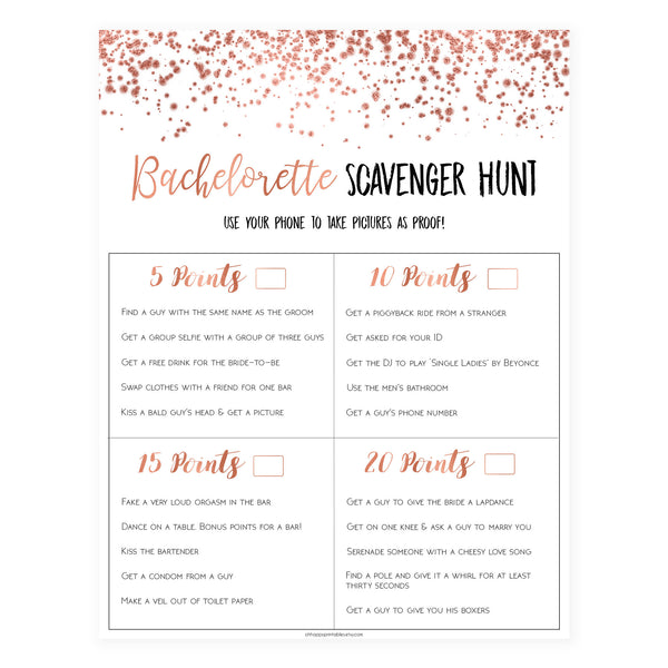 Bachelorette Scavenger Hunt - Rose Gold Foil