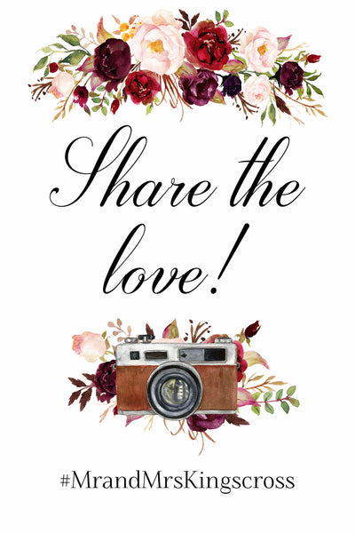 Share The Love Marsala Hashtag Sign wedding