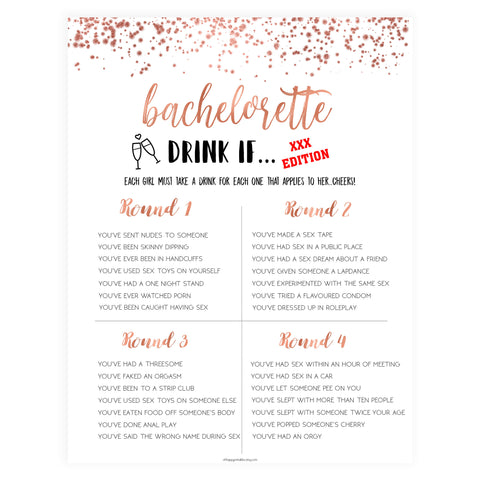 X Rated Bachelorette Drink If Game - Rose Gold Foil