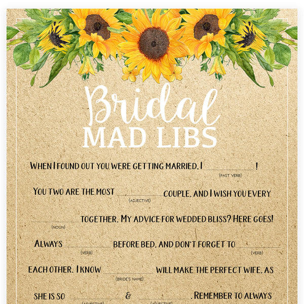 Bridal Mad Libs Game - Sunflowers