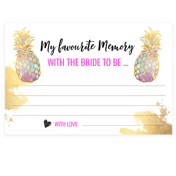 Favourite Memory with the Bride - Gold Pineapple