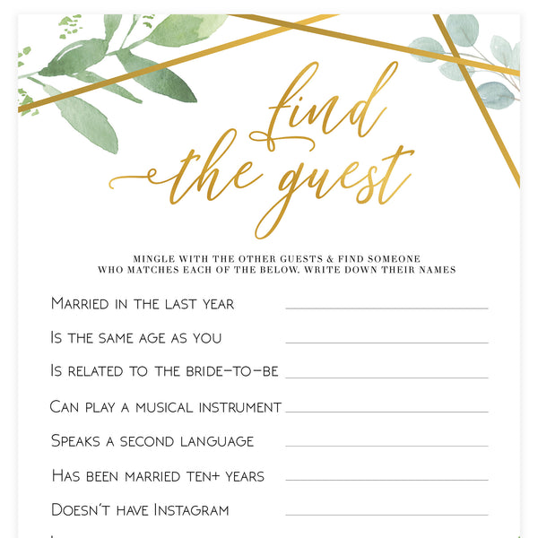 Find The Guest Bridal Game - Gold Greenery