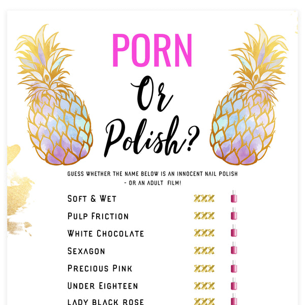 Porn or Polish Game - Gold Pineapple
