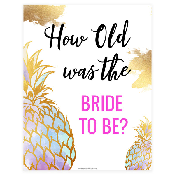 How Old was the Bride Game - Gold Pineapple