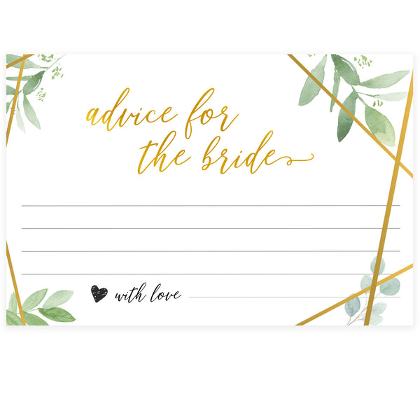 Advice for the Bride Cards - Gold Greenery