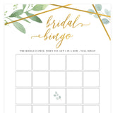 Bridal Bingo Game - Gold Greenery
