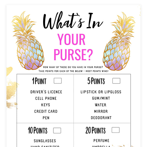 What's In Your Purse - Gold Pineapple