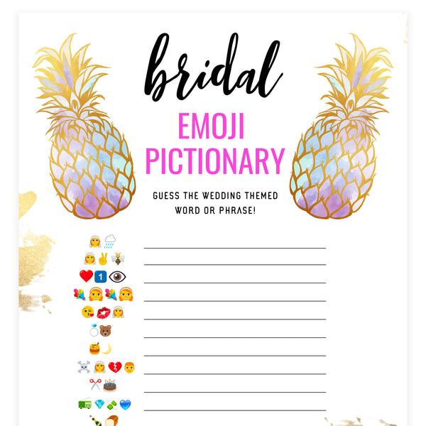 Bridal Emoji Pictionary - Gold Pineapple