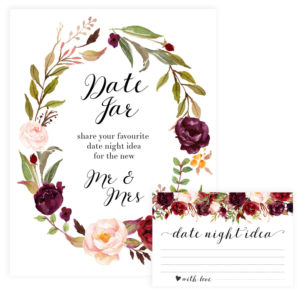image about Date Night Jar Printable called Floral Day Night time Jar Match Printable Bridal Shower Video games