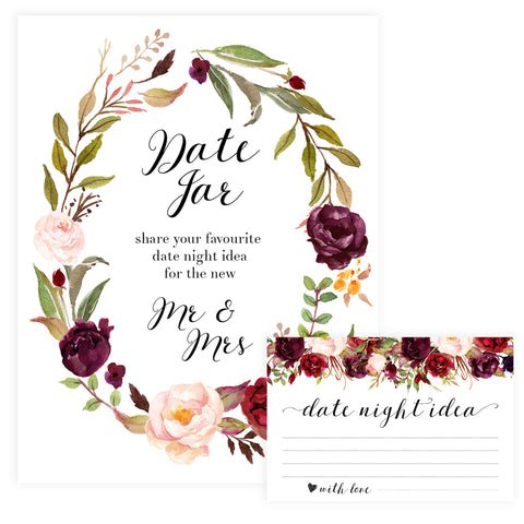 Date Night Jar Bridal Game - White Marsala
